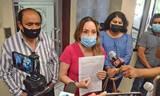Susana Rangel Acosta, del Grupo de Integración Sindical, encabezó a un grupo de maestros jubilados y activos